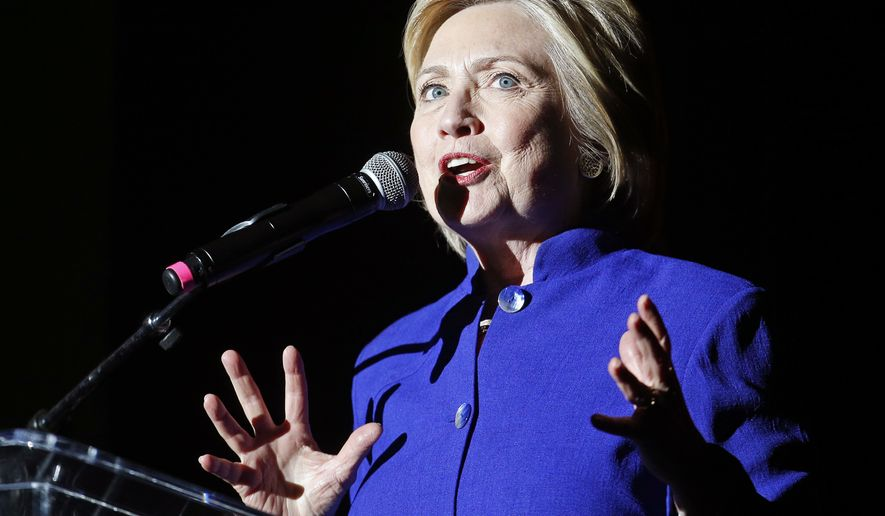 Democratic presidential candidate Hillary Clinton speaks at a concert at the Greek Theater, Monday, June 6, 2016, in Los Angeles. (AP Photo/John Locher)