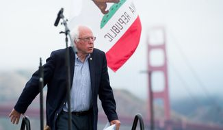 Democratic presidential candidate Sen. Bernie Sanders, I-Vt., arrives at a campaign rally on Monday, June 6, 2016, in San Francisco. (AP Photo/Noah Berger)