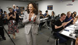 Attorney General Kamala Harris, a candidate for the U.S. Senate, thanks supporters who worked a phone bank for her at the California Democratic Party headquarters on election day, Tuesday, June 7, 2016, in Sacramento, Calif. Harris is running against fellow Democrat Rep. Loretta Sanchez, among others, to replace Barbara Boxer who is retiring. (AP Photo/Rich Pedroncelli)