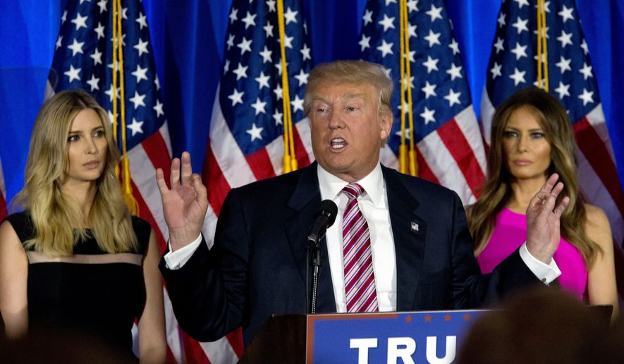 Republican presidential candidate Donald Trump is joined by his daughter Ivanka, left, and wife Melania as he speaks during a news conference at the Trump National Golf Club Westchester, Tuesday, June 7, 2016, in Briarcliff Manor, N.Y. (AP Photo/Mary Altaffer)