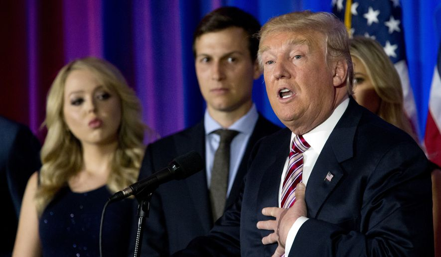 Republican presidential candidate Donald Trump is joined by his daughter Tiffany, left, and son-in-law Jared Kushner as he speaks during a news conference at the Trump National Golf Club Westchester, Tuesday, June 7, 2016, in Briarcliff Manor, N.Y. On July 7, Politico reported that Mr. Kushner's defense of Mr. Trump from charges of anti-Semitism have stoked the ire of his extended Jewish family. (AP Photo/Mary Altaffer)