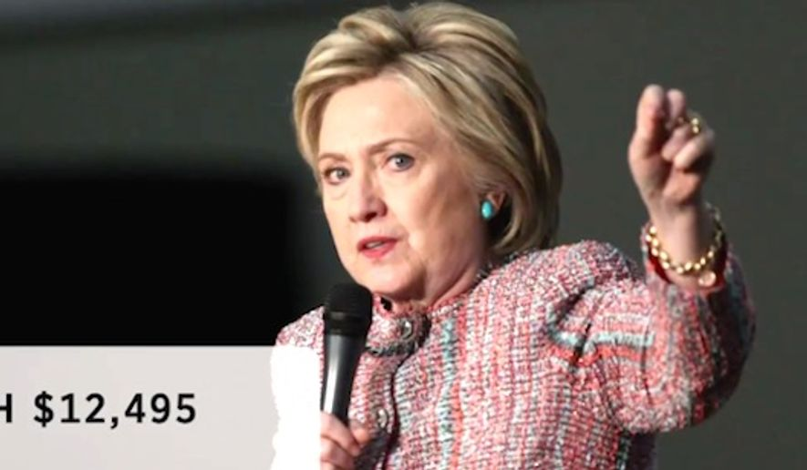 Former Secretary of State Hillary Clinton gave a speech on inequality in April while wearing a Giorgio Armani jacket valued at $12,495. (CNBC screenshot)