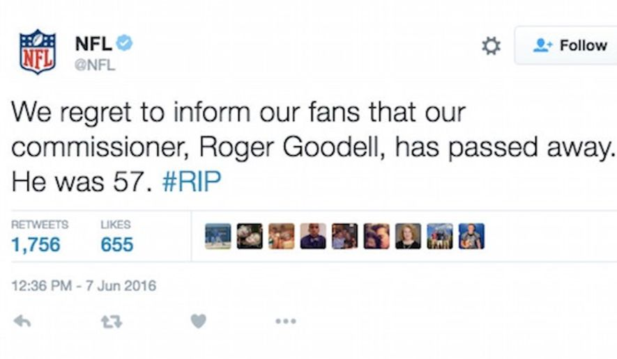 A hacker took over the National Football League's Twitter account on Tuesday. The individual falsely reported NFL Commissioner Roger Goodell's death. (Twitter, NFL)