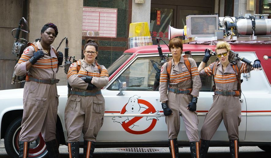 "FILE - In this image released by Sony Pictures, from left, Leslie Jones, Melissa McCarthy, Kristen Wiig and Kate McKinnon from the film, ""Ghostbusters,"" opening nationwide on July 15. (Hopper Stone/Columbia Pictures, Sony via AP)"