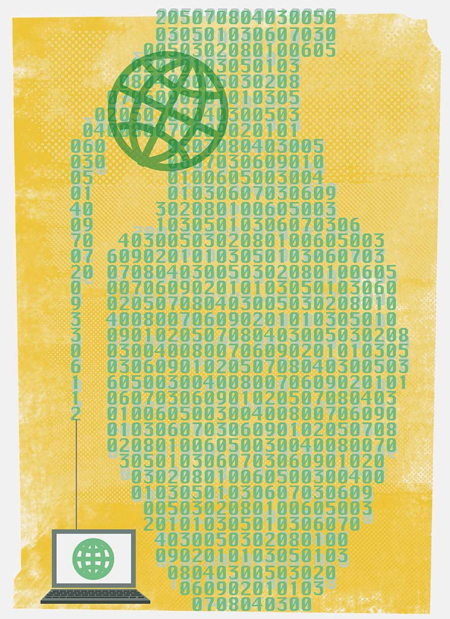 Illustration on the cyberwar threat by Linas Garsys/The Washington Times