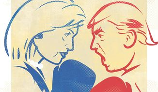 Illustration on the Hillary/Trump main event by Linas Garsys/The Washington Times