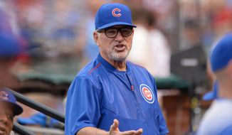 Chicago Cubs manager Joe Maddon (70) prior to a baseball game between the St. Louis Cardinals and the Chicago Cubs Monday, May 23, 2016, in St. Louis. (AP Photo/Michael Thomas) **FILE**