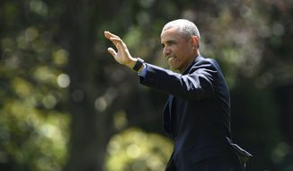 President Barack Obama waves as he walks from the Oval Office to Marine One on the South Lawn of the White House in Washington, Wednesday, June 8, 2016, for a short trip to Andrews Air Force Base, Md. then onto New York for an appearance on the Tonight Show with Jimmy Fallon and attend Democratic fundraisers. (AP Photo/Susan Walsh)