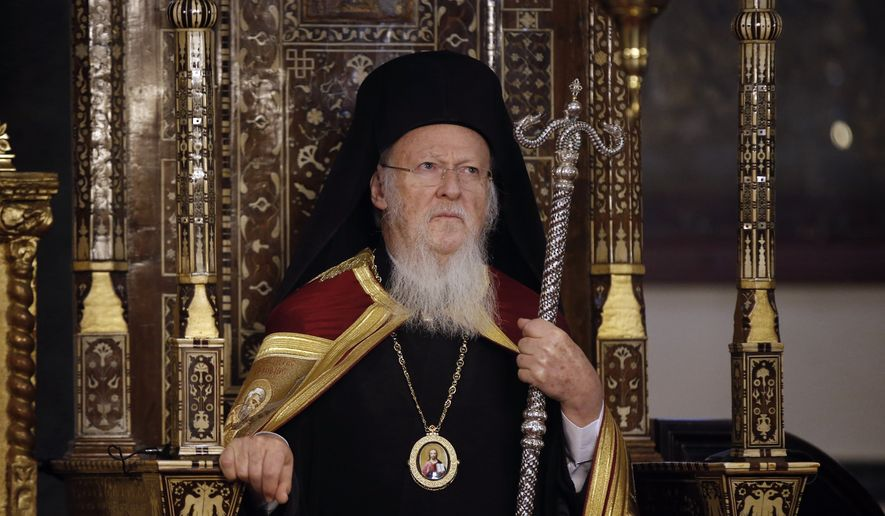 Ecumenical Patriarch Bartholomew I, the spiritual leader of the world's Orthodox Christians listens during an Epiphany ceremony at the Patriarchate in Istanbul, Turkey, in this Wednesday, Jan. 6, 2016, file photo. (AP Photo/Emrah Gurel, file)