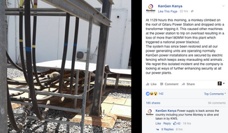 Screen shot from a Facebook posting by KenGen explaining the cause of a nationwide power outage on June 7, 2016.