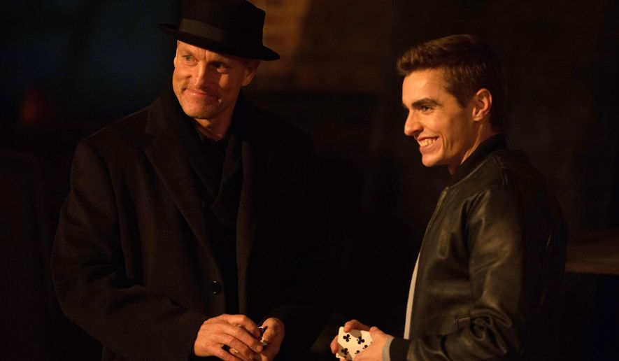 """In this image released by Summit Entertainment, Woody Harrelson, left, and Dave Franco appear in a scene from, """"Now You See Me 2."""" (Jay Maidment/Summit Entertainment vis AP)"""
