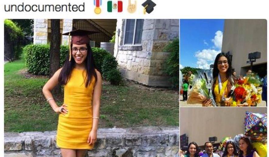 "Mayte Lara Ibarra graduated from Crockett High School in Austin, Texas. The class valedictorian boasted on Twitter afterwards that she was ""undocumented."" (Twitter, Mayte Lara Ibarra)"