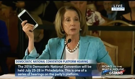 "House Minority Leader Nancy Pelosi, D-Calif., said the federal government ""invented"" the iPhone on Thursday, June 9, 2016. (CSPAN)"