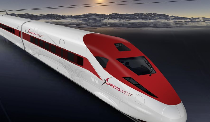 FILE - This undated computer-generated file image provided by XpressWest shows a rendering of the Xpress West high-speed train. A Nevada company that wants to build a high-speed passenger rail line between Las Vegas and Southern California has broken ties with a Chinese firm that it had said would help, XpressWest said Wednesday, June 8, 2016. (XpressWest via AP, File)