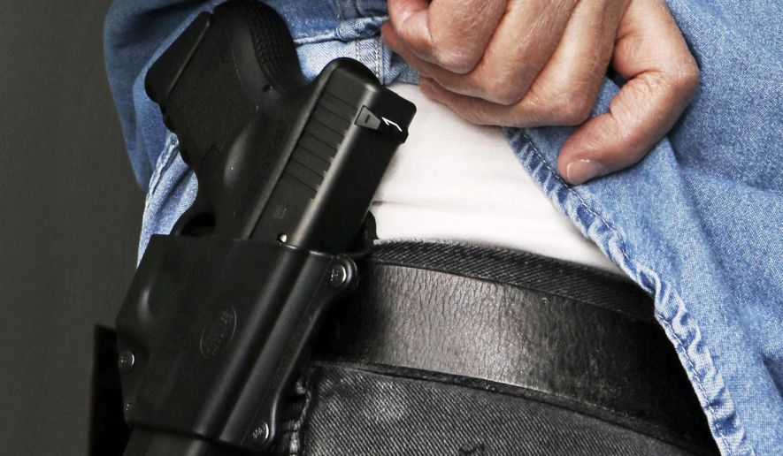 Hank Johnson displays his handgun, in Springboro, Ohio, Feb. 27, 2013. (AP Photo/Al Behrman, File) ** FILE **