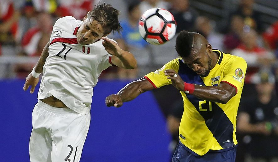 Ecuador's Gabriel Achilier, right, competes with Peru's Alejandro Hohberg for the ball during the first half of a Copa America group C soccer match Wednesday, June 8, 2016, in Glendale, Ariz. (AP Photo/Ross D. Franklin)