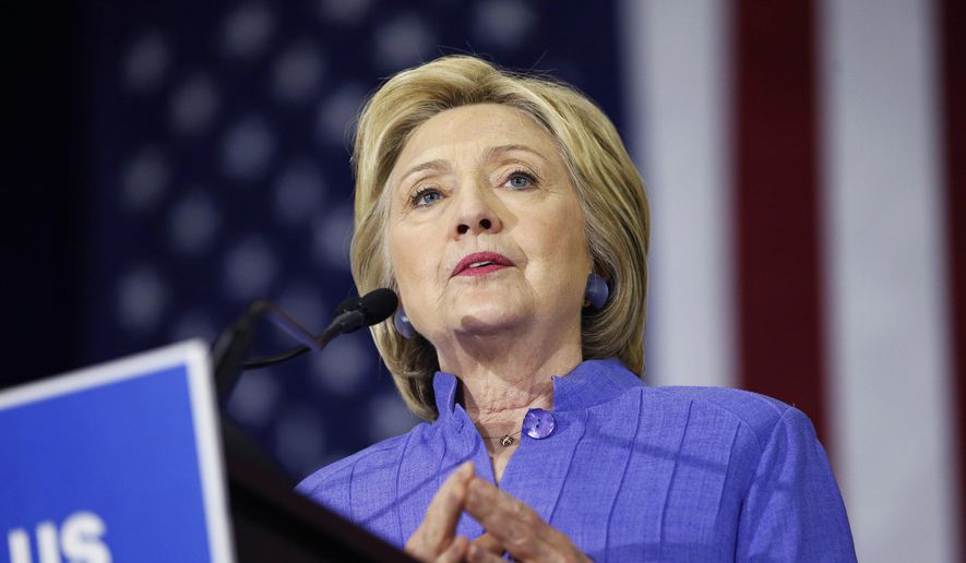 Democratic presidential candidate Hillary Clinton speaks at a rally in Culver City, Calif., in this June 3, 2016, file photo. (AP Photo/John Locher, File)