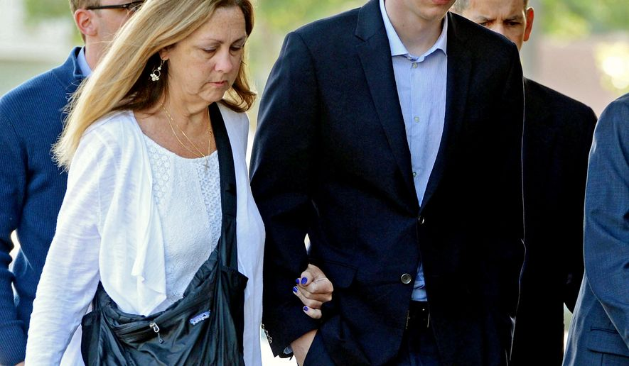 FILE - In this June 2, 2016 file photo, Brock Turner, right, makes his way into the Santa Clara Superior Courthouse in Palo Alto, Calif. Some parents are using the unusual publicity surrounding the sentencing of the student-athlete, Turner, at Stanford to talk to their own children about sexual misconduct, binge drinking, personal responsibility and other tough topics, supplementing their own thoughts with the powerful words of the victim in the case. (Dan Honda/San Jose Mercury News via AP, File)  MAGS OUT; NO SALES; MANDATORY CREDIT