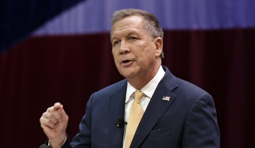 Ohio Gov. John Kasich delivers an annual State of the State address at the Peoples Bank Theatre in Marietta, Ohio.  (AP Photo/Tony Dejak, File)