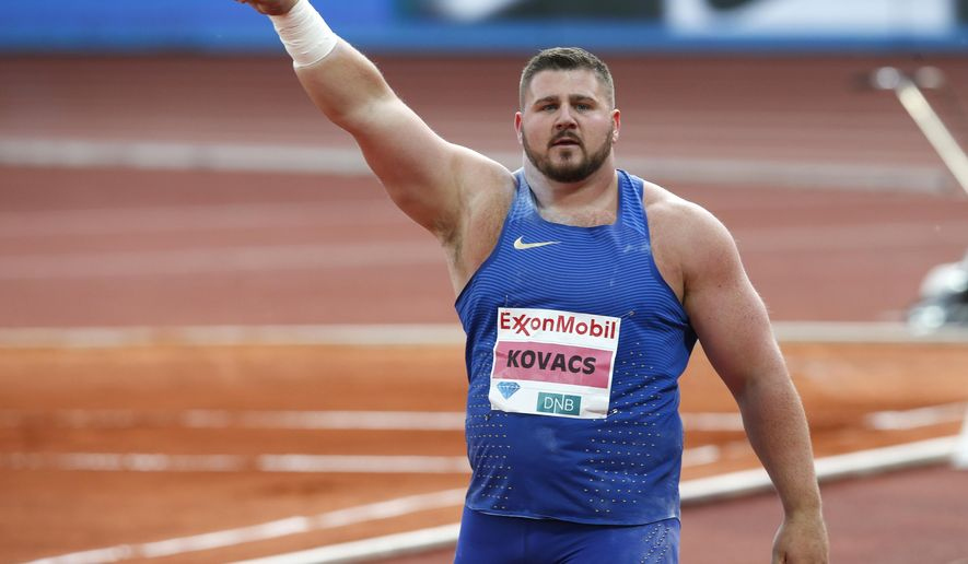 Joe Kovacs of the U.S celebrates after winning the men's shot put, during the 2016 IAAF Oslo Diamond League athletics meeting at the Bislett Stadium in Oslo, Thursday, June 9, 2016. (Vidar Ruud/NTB Scanpix via AP)      NORWAY OUT