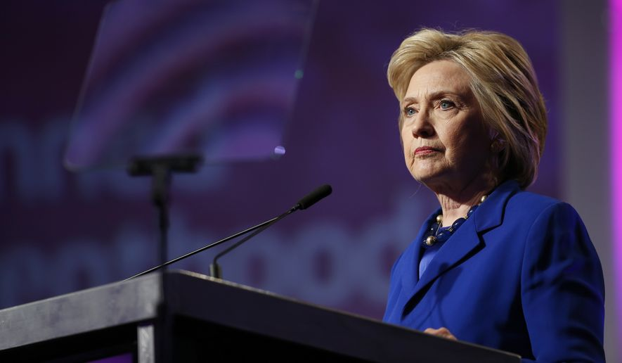 Democratic presidential candidate Hillary Clinton pauses while speaking during a Planned Parenthood Action Fund membership event in Washington on June 10, 2016. (Associated Press) **FILE**