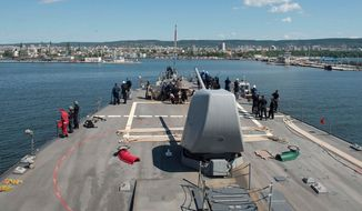 The USS Porter (DDG 78) arrives in Varna, Bulgaria for a scheduled port visit June 7, 2016. Porter, an Arleigh Burke-class guided-missile destroyer, forward-deployed to Rota, Spain, is conducting a routine patrol in the U.S. 6th Fleet area of operations in support of U.S. national security interests in Europe. (U.S. Navy Photo by Mass Communication Specialist 3rd Class Robert S. Price/Released)