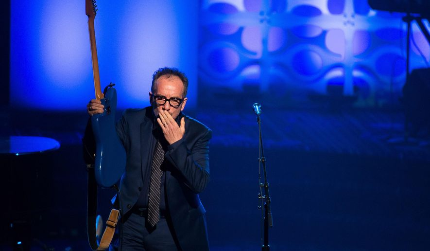Inductee Elvis Costello performs at the 47th Annual Songwriters Hall of Fame Induction Ceremony and Awards Gala at the Marriott Marquis Hotel on Thursday, June 9, 2016, in New York. (Photo by Charles Sykes/Invision/AP)