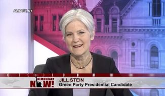 """Presumptive Green Party nominee Jill Stein believes Hillary Clinton would be a more dangerous president than Donald Trump, because while Mr. Trump says """"scary things,"""" the former secretary of state actually does them. (Democracy Now)"""