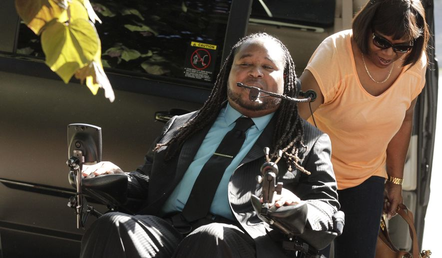 Eric LeGrand, the former Rutgers football player, along with his mother Karen, arrive at the home of Gianna Brunini, a Hanover Park High School senior who he escorted to her prom on Thursday, June 9, 2016 in East Hanover, NJ.   (Robert Sciarrino/NJ Advance Media via AP)  TV OUT; MAGS OUT; INTERNET OUT; NO SALES; NO ARCHIVING; MANDATORY CREDIT