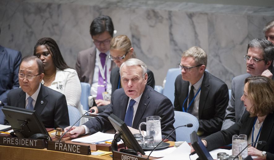 "In this photo provided by the United Nations, Jean-Marc Ayrault, center, Minister for Foreign Affairs and International Development of France, addresses the United Nations Security Council, Friday, June 10, 2016 at United Nations headquarters. U.N. Secretary-General Ban Ki-moon is seated to his left and Hasmik Egian, Acting Director of the Security Council Affairs Division, is to the right. Ayrault addressed a small group of reporters on Friday, warning that Israel's ban on Palestinians entering its territory following the ""abominable"" attack on a popular cafe in Tel Aviv could escalate violence instead of focus attention on the need to pursue peace. (Rick Bajornas/The United Nations via AP)"