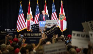 Donald Trump speaks at a presidential campaign rally at the Tampa Convention Center in Tampa, Fla., on Saturday, June 11, 2016.  (Loren Elliott/The Tampa Bay Times via AP)