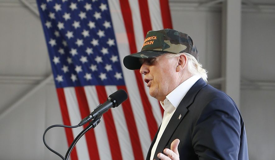 Republican Presidential candidate Donald Trump speaks during a campaign rally, Saturday, June 11, 2016 at a private hanger at Greater Pittsburgh International Airport in Moon, Pa. (AP Photo/Keith Srakocic)