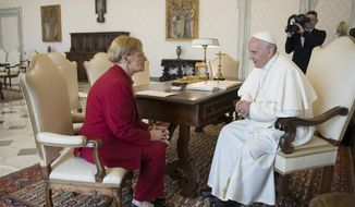 Pope Francis talks with Lidia Guerrero,  the Argentine mother of a man on death row in Texas for two decades. After their first meeting, in Rome in 2014, she said that the pope, who is also Argentine, assured her of his prayers for Victor Hugo Saldano. (L'Osservatore Romano Pool Photo Via AP) **FILE**