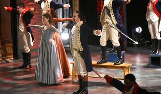 "Lin-Manuel Miranda and the cast of ""Hamilton"" perform at the Tony Awards at the Beacon Theatre on Sunday, June 12, 2016, in New York. (Photo by Evan Agostini/Invision/AP)"