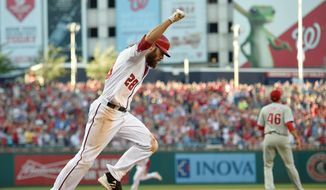 Washington Nationals outfielder Jayson Werth celebrates his ninth-inning walkoff single that drove in the winning runs for a 5-4 win over the Philadelphia Phillies on Sunday. (Associated Press)