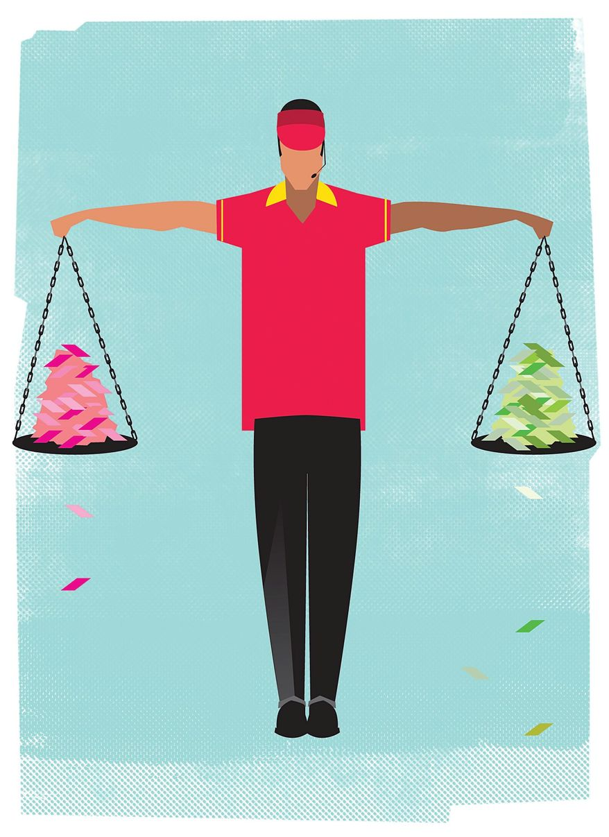 Illustration on the impact of a rising minimum wages by Linas Garsys/The Washington Times