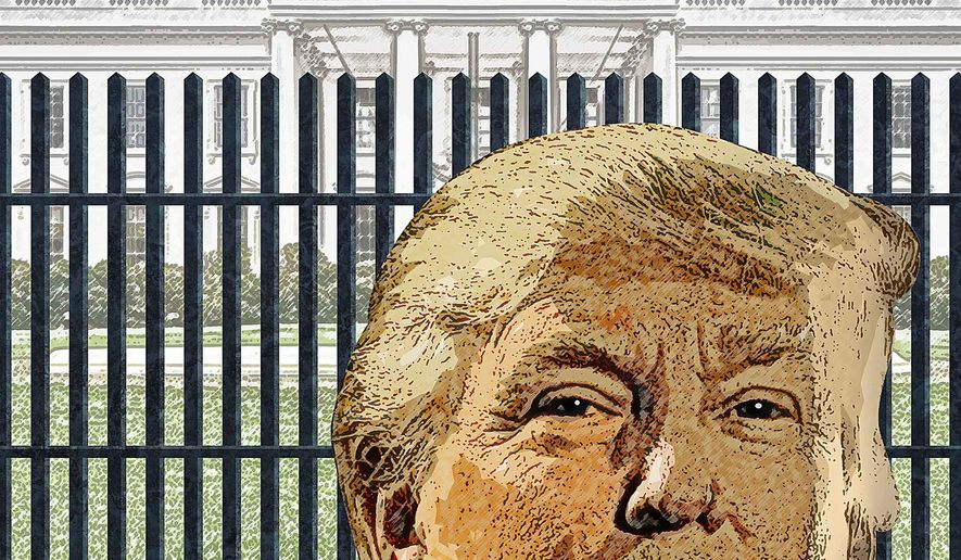 Trump on the Outside Illustration by Greg Groesch/The Washington Times