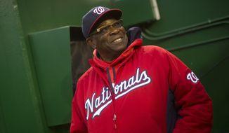 Washington Nationals manager Dusty Baker talks with fans prior to a baseball game against Philadelphia Phillies, Wednesday, April 27, 2016 in Washington. Philadelphia won 3-0.(AP Photo/Pablo Martinez Monsivais)