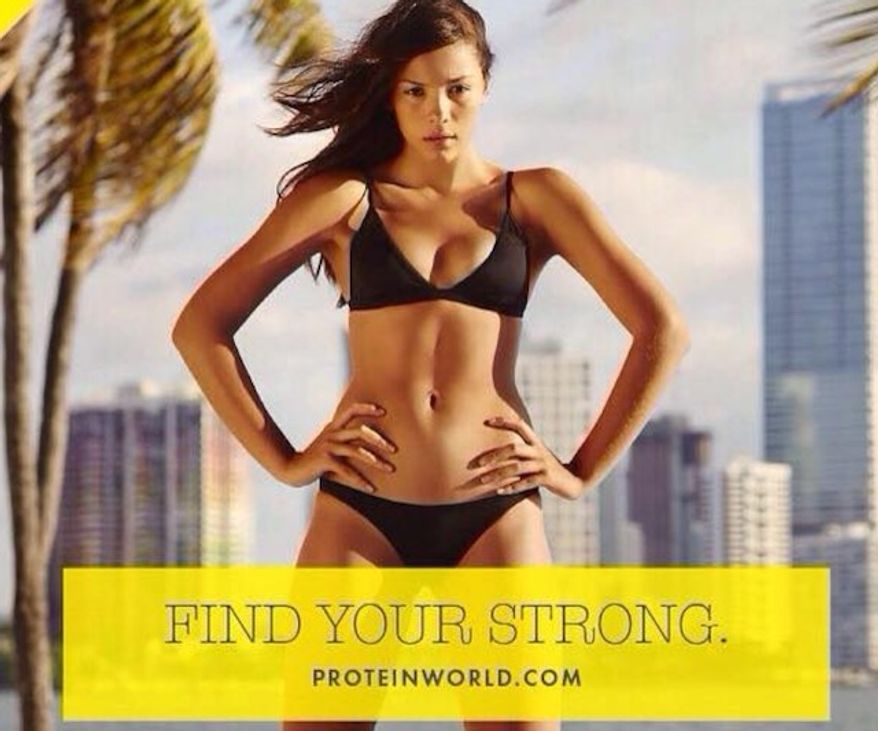 """London Mayor Sadiq Khan is moving to ban advertisement's with """"unrealistic"""" female bodies. Supporters of the decision point to ads like those seen around the city by Protein World. (Facebook, Protein World)"""