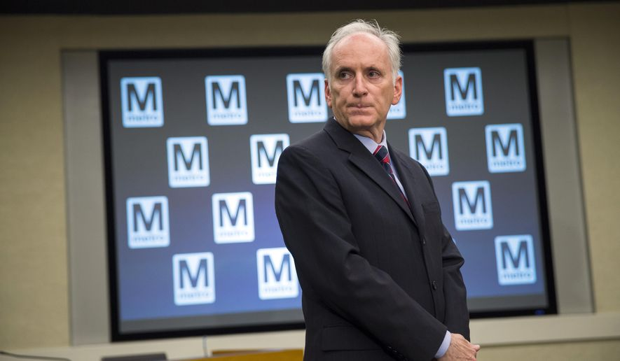 Metro's general manager, Paul Wiedefeld, listens to a question during a news conference to announce that the D.C. Metrorail service will be shut down for a full day at the Washington Metropolitan Area Transit Authority headquarters, in this Tuesday, March 15, 2016, file photo in Washington. (AP Photo/Evan Vucci)