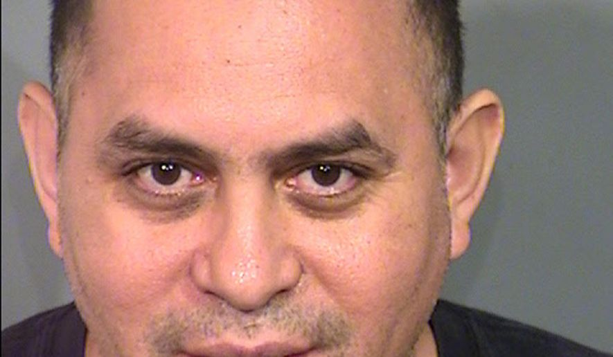 This June 11, 2016 Clark County Detention Center booking photo provided by the Las Vegas Metropolitan Police Department shows Diego Morales-Aquino, 50, of Las Vegas. Police say Morales-Aquino faces felony hit-and-run charges after the car he was driving hit another car and struck five people on a sidewalk, including a 6-year-old girl and a 9-year-old boy who were critically injured. (Las Vegas Metropolitan Police Department via AP)