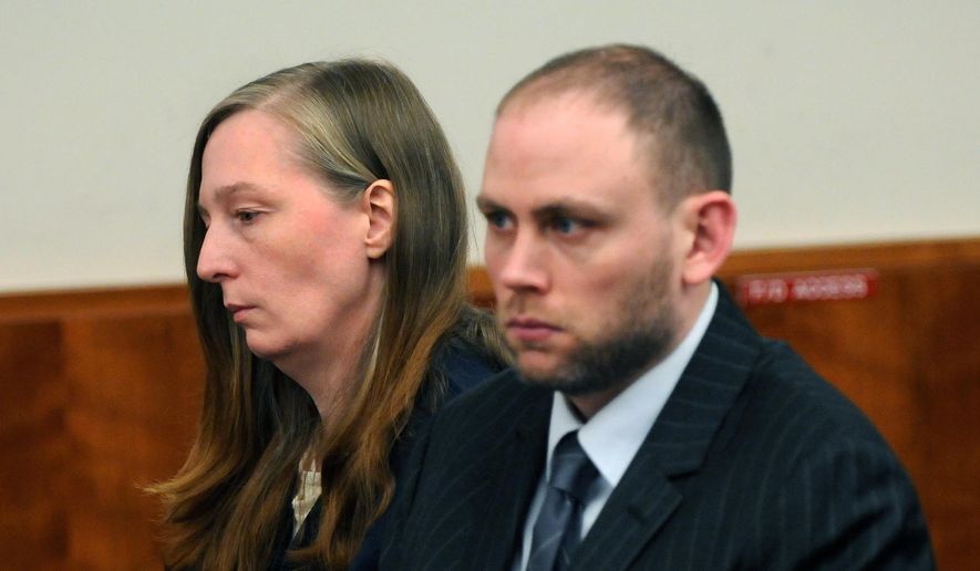 In this March 5, 2009, file photo, Stacey Castor, left, and her attorney Charles Keller listen in Syracuse, N.Y., as Onondaga County Judge Joseph Fahey addresses her before pronouncing her sentence for the murder of her husband David Castor in August of 2005. (John Berry/The Syracuse Newspapers via AP, File)