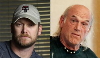 """This combination of file photos shows Chris Kyle, left, former Navy SEAL and author of the book """"American Sniper,"""" on April 6, 2012, and former Minnesota Gov. Jesse Ventura, right, on Sept. 21, 2012. (AP Photo/File)"""