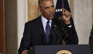 President Barack Obama speaks at the Treasury Department in Washington, Tuesday, June 14, 2016, following a meeting with his National Security Council to get updates on the investigation into the attack in Orlando, Florida and review efforts to degrade and destroy ISIL. (AP Photo/Susan Walsh)