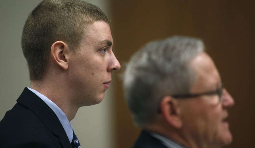 Former Stanford student and athlete Brock Turner appaers in a Palo Alto, Calif., courtroom on Feb. 2, 2015. (San Jose Mercury News via Associated Press)