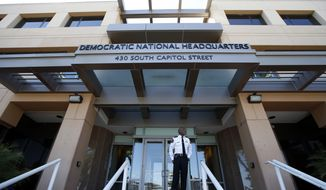 The Democratic National Committee headquarters is seen, Tuesday, June 14, 2016 in Washington. (AP Photo/Alex Brandon)