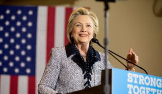 Democratic presidential candidate Hillary Clinton speaks at a rally at the International Brotherhood of Electrical Workers Circuit Center, in Pittsburgh, Tuesday, June 14, 2016. (AP Photo/Andrew Harnik) ** FILE **