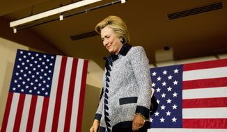 Democratic presidential candidate Hillary Clinton arrives to speak at a rally at the International Brotherhood of Electrical Workers Circuit Center in Pittsburgh, Tuesday, June 14, 2016. (AP Photo/Andrew Harnik) ** FILE **