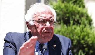 Democratic presidential candidate, Sen. Bernie Sanders, I-Vt., speaks during a news conference outside his campaign headquarters in Washington, Tuesday, June 14, 2016. (AP Photo/Alex Brandon)