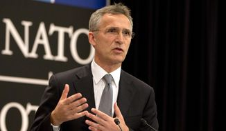 NATO Secretary General Jens Stoltenberg speaks in Brussels in this June 13, 2016, file photo. (AP Photo/Virginia Mayo, File)